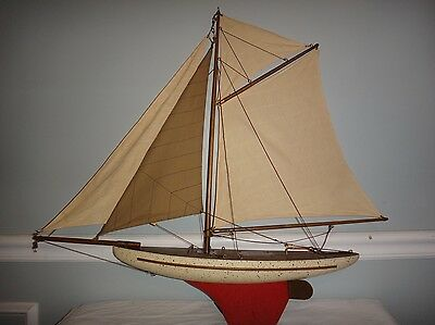 """Vintage 1960's Wooden Pond Boat Large 29"""" Brass Parts High Quality Not a Kit"""