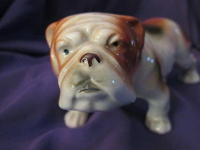 Vintage Bulldog Standing Ceramic Porcelain Dog Figurine Japan Clover Mark
