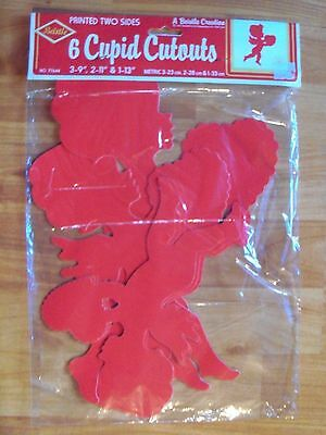 "Beistle 6 Cupid Cutouts Valentines Decoration (3) -9"" (2) -11"" (1) -13"" NOS"