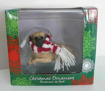 Sandicast Christmas Ornament Fawn Mastiff Figurine With Red and White Scarf