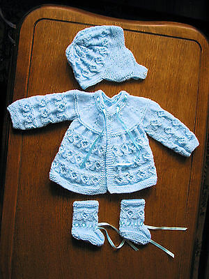 baby blue  matinee set new 0 to 3 months hand knitted