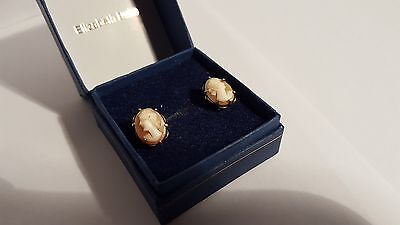 Vintage Gold On Silver Cameo Screw On Earrings With Box