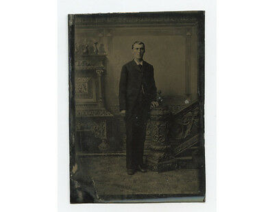 Tintype Studio Portrait Tall, Young Man W/ Great Suit + Painted Backdrop