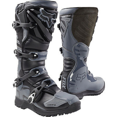 NEW Fox Racing 2017 Comp 5 Black Grey Dirt Bike Motocross Enduro Offroad Boots