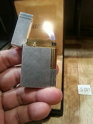 St dupont lighter 51 ~ Ligne 2 small hobnail silver plat, ping sound & serviced
