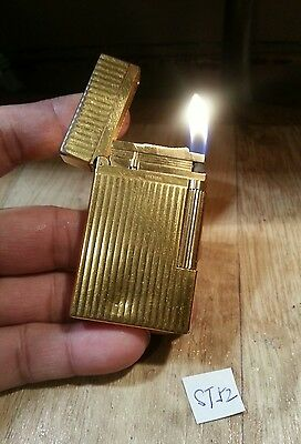 St dupont lighter 52 ~ Ligne 2 large vertical gold plated ping sound & serviced