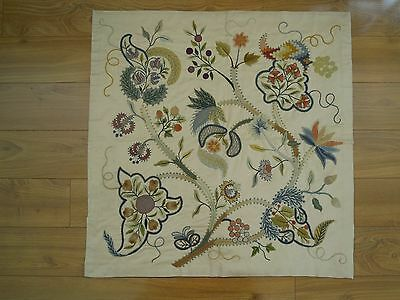 """Antique Wool Crewel Embroidery 27"""" Square Jacobean Floral Panel from Museum"""