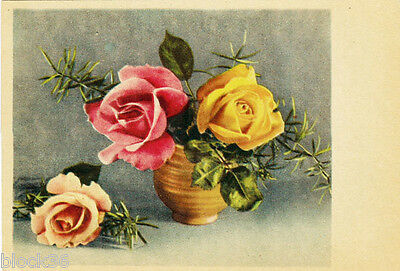 Vintage unposted card ROSES