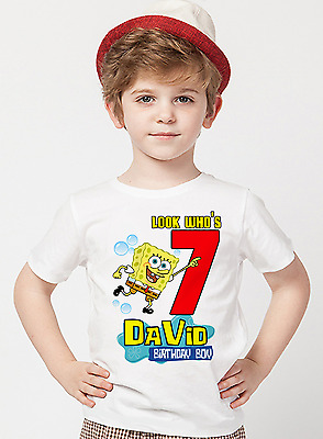 Spongebob Squarepants Shirt Birthday Shirt Personalized Name and Age
