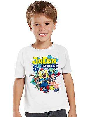 Spongebob Squarepants Shirt Birthday Shirt Custom Name and Age Personalized Tee
