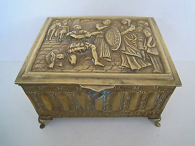 Antique Ornate Embossed Brass Footed Jewelry Box Casket Roman or Greek Style