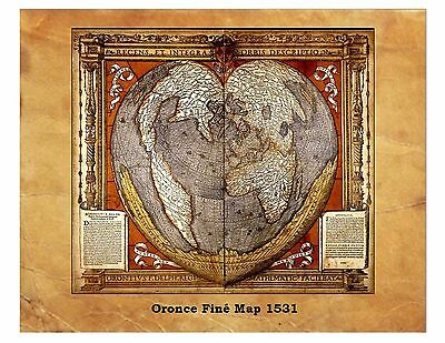 Oronce Finé Ancient World Map 1531 Antique Globe Flat Earth 8X10 Reprint