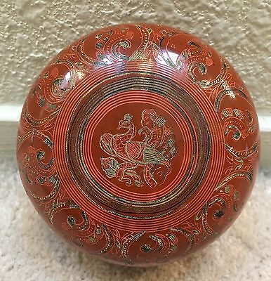 Antique Burmese Hand Painted Lacquer Circular Box Animal Days of the Week