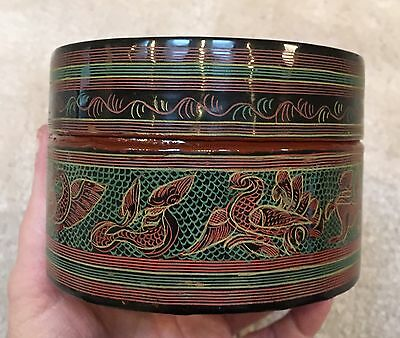 Antique Burmese Hand Painted Lacquer Deep Circular Box Animal Days of the Week