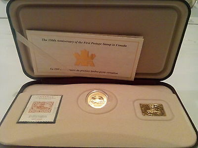 150th Ann of first stamp of canada stamp,coin and wafer