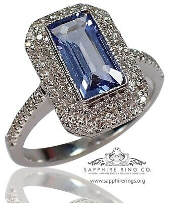 GIA Certified 18kt W/Gold 1.90 tcw Blue Emerald Natural Sapphire & Diamond Ring