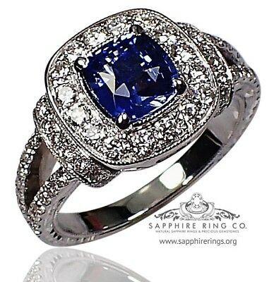 GIA Certified 18kt 2.10 tcw Blue Cushion Ceylon Natural Sapphire & Diamond Ring