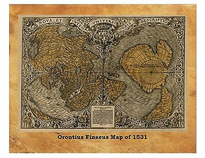 Orontius Finaeus Map Ancient World Map 1531 Antique Globe Flat Earth