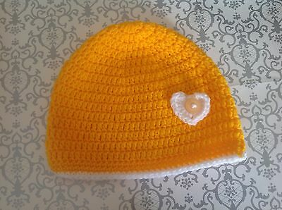 Sunny yellow CROCHET BABY BEANIE 1 to 2 yrs - made in WA