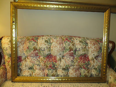 """Large Vintage Ornate Gold Frame For Picture Size 28 1/4 X 36 Frame Is 2 1/2"""" W"""