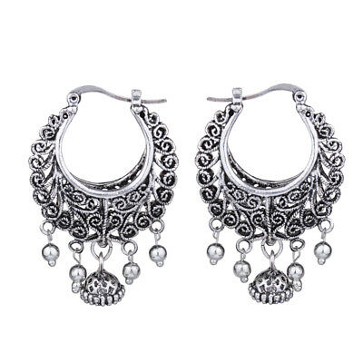 Ethnic Trible Vintage Antique Silver Hollow Out Round Drop Earrings For Women
