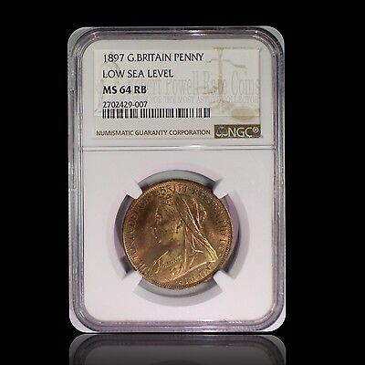 1897 Great Britain Penny Low Sea Level NGC MS 64 RB