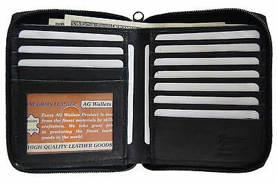 Mens Genuine Leather Bifold Zip Around Hipster Credit Card ID Wallet Euro Black