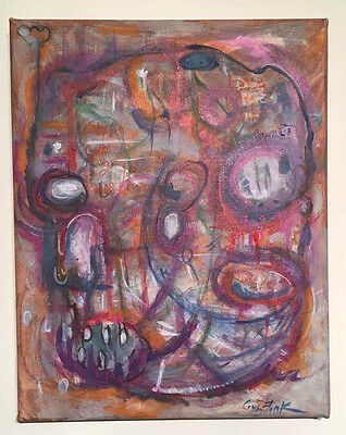 GUS FINK art ORIGINAL painting Ooak outsider lowbrow Urban CREATE YOUR UNIVERSE