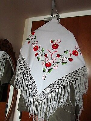 White Red Floral hand Embroidered Vintage mantilla scarf Shawl Ethnic Kalocsa