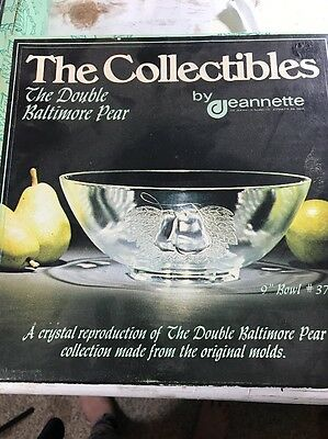 """Baltimore Pear Crystal Clear Bowl 9.5"""" Jeannette 3759"""