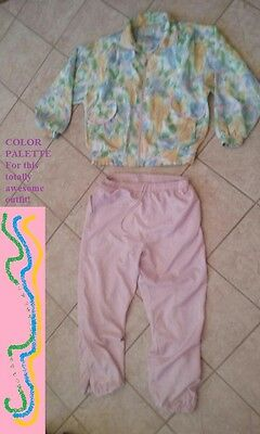 Vintage 1980s 90s LAVON 2 pc sweatsuit track suit Size Large crinkly low shimmer