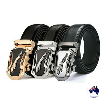 XHTang Men's Jaguar Automatic Buckle Belt Genuine Leather Waistband Jeans Gift
