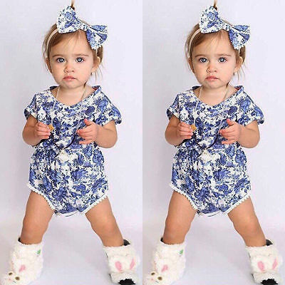 Infant Newborn Baby Girl Floral Bodysuit Jumpsuit Romper Outfits Sunsuit Clothes