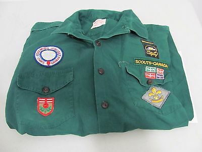 Vintage 1970s Boy Scouts Canada Green Shirt with Patches