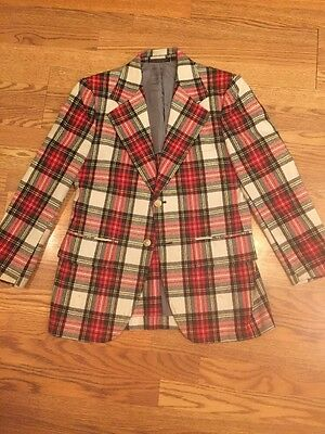 Vintage Mens 38S Richman Brothers Red/Yellow/Blue/White Plaid Wool Blazer