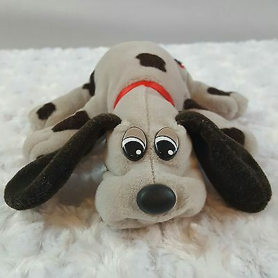 Vintage Tonka  Pound Puppy Plush Gray With Brown Spots Red Collar 1980s Retro