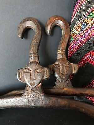 Old Javanese Carved Wooden Coat Hangers X 2 …beautiful detailed carving