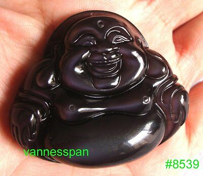 AAA Natural Ice Rainbow Obsidian Carved Buddha Pendant 43×50×13mm