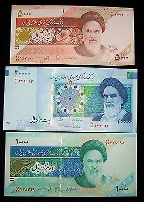3 Iran banknotes-1 x 5000,10000 & 20000 Rials-UNC currency