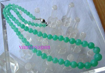 """AAA Natural Australian Chrysoprase Round Beads Necklace 5mm~10mm 17.5"""""""
