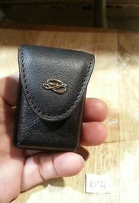 New St Dupont golden D large black leather lighter pouch ~ RV26  (no lighters)