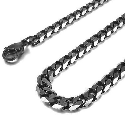 Men's Black Stainless Steel Biker Flat Curb Cuban 6.5mm Chain Link Necklace Gift