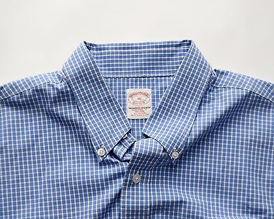 Men's Brooks Brothers Non-Iron Traditional Fit Blue Checks Dress Shirt XL