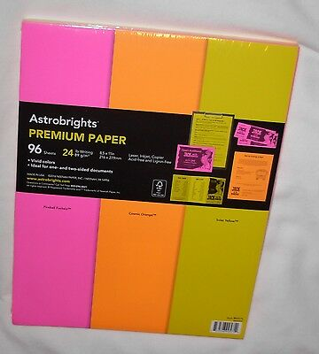 New Astrobrights Premium Paper 24 lb - 3 Vivid Colors - 96 Sheets 8 1/2 x 11