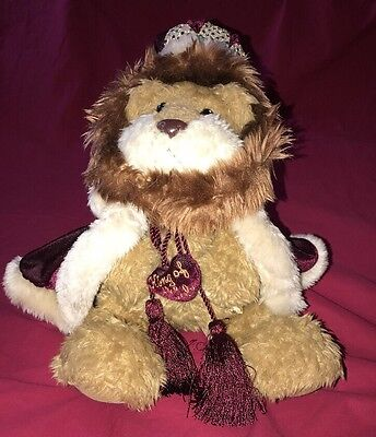 """Too Cute! First & Main Lion King Of The Jungle 17"""" Plush Animal With Crown"""