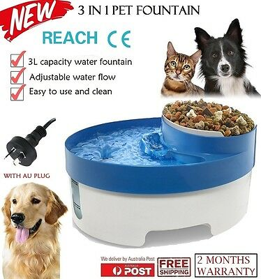NEW 3 in 1 Water Fountain Filtered Circulating Drinker Pet Dog Cat Food Bowl