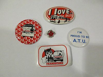 Lot of 4 Vintage Pinback Buttons and Pin from OC Transpo and ATU, Ottawa Canada