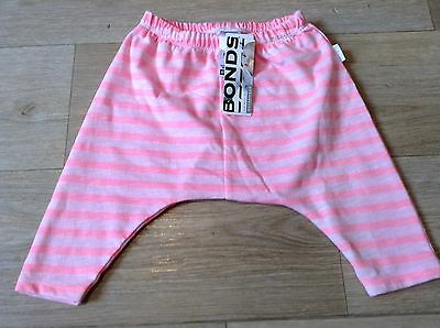 NWT Bonds Baby Girls Pink Stripe Newbies Slub Relaxed Pants Size 00 RRP$24.95
