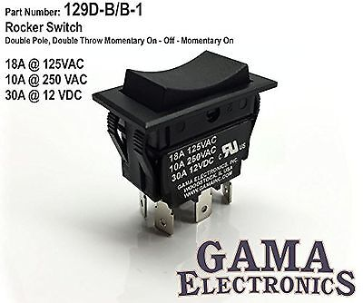 30 Amp DPDT Momentary On-Off-Momentary On Rocker Switch