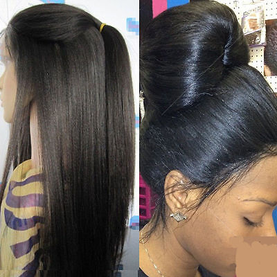 Glueless Human Hair Full lace/Front lace Wig Yaki Straight Natural Color